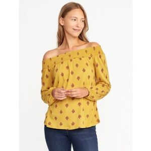 OLD NAVY Mustard Yellow Off-Shoulder Smocked Top